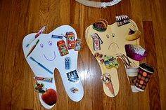 Having children glue pictures of good and bad food to white happy teeth and brown sad teeth. Great for preschoolers