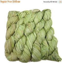 SALE New! Sari Silk Ribbon yarn , 100g skein, Lemon/Lime