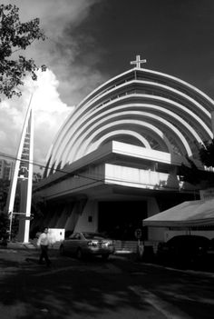Magallanes Church by Leandro V. Locsin & Partners, Dominic Galicia Architects, Ildefonso Santos, Jr.  Formally known as the Parish Church of St. Alphonsus. The Magallanes Church was built in 1968, It was designed by Architect Leandro Locsin. then in september 2004 it was consumed by fire, the church was rebuilt by Architect Dominic Galicia. Filipino Architecture, Philippine Architecture, Sacred Architecture, Futuristic Architecture, Contemporary Architecture, Architecture Design, Mosques, Cathedrals, Another World