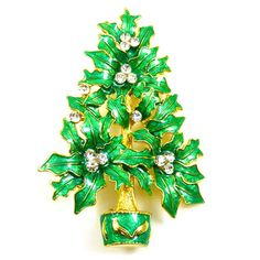 Traditional Christmas Tree with Swarovski Crystal Brooch Pin