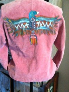 Retro Pink HIPSTER suede fitted jacket coat  with Original hand painted Thunderb