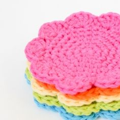 Whip up a few or a lot of this simple project to use as coasters or facial scrubbers.  Free pattern included!
