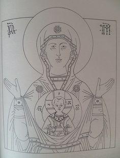 Знамение. Прорись с иконы 17в. Богоматерь представлена по пояс с воздетыми в молении руками в позе Оранты. На груди Ее изображение Младенца Христа помещено в круглый диск-медальон. Иисус благословляет двуперстно правой рукой, в левой изображен свиток. Хитон Христа украшен оплечьем.