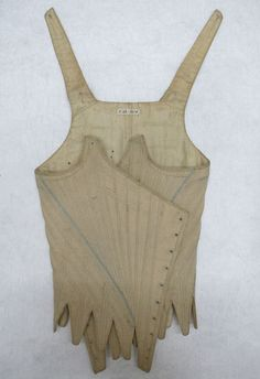 Stays Museum number: T.32-1914 1790-95, English; beige linen stitched with pale blue silk; lined with linen, partially boned, front lacing