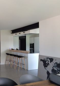 Open modern kitchen with apparent IPN. Interior renovation project in Annecy-le-Vieux by Nicoletti Architecture Workshop.archinicolett … Source by lychi_baba Open Plan Kitchen Living Room, Steel Beams, Kitchen Design, Kitchen Modern, Interior Architecture, House Plans, Sweet Home, Home Decor, Bar