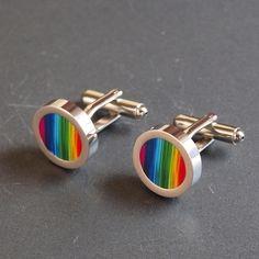 Rainbow Cuff Links Colourful Cufflinks to Wear ... - Folksy