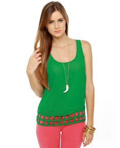 Lattice Entertain You Sheer Green Tank Top from lulus...love the green and pink!!
