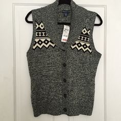 American Living gray and black sweater vest {•} Gray and black speckled sweater vest with black and white tribal pattern. Buttons up the middle with great detail at neckline. New with tags! Stay cozy and warm this winter with this beautiful vest! American Living Sweaters V-Necks