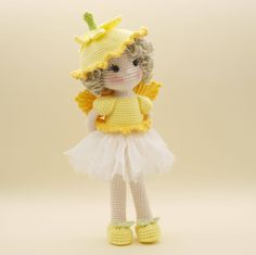 Amigurumi crochet DOLL Sweet Daffodil flower fairy with