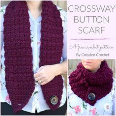 Crochet this gorgeous Crossway Button Scarf. A quick and easy beginner friendly crochet pattern by Croyden Crochet. Crochet this gorgeous and chunky Scarf using Crazy Sexy Wool. The Crossway Button Scarf gives you the option to wear a scarf multiple ways! Crochet Scarf Easy, Crochet Simple, Crochet Mittens, Crochet Scarves, Crochet Shawl, Crochet Clothes, Free Crochet, Crochet Pattern, Free Pattern