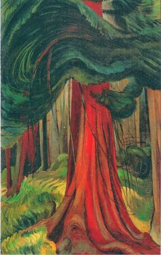 """The Red Cedar - Emily Carr ~ The artist himself may not think he is religious, but if he is sincere his sincerity in itself is religion."""" Emily Carr ~ Via Canadian Painters, Canadian Artists, Native Canadian, Canada Landscape, Forest Landscape, Landscape Design, Vancouver Art Gallery, Tom Thomson, Cedar Trees"""