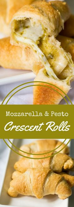 These mozzarella and pesto stuffed crescent rolls are easy to make! Just fill, roll, and bake for a tasty, cheesy bread to accompany your meal. via @recipeforperfec @walmart #madeathome #ad