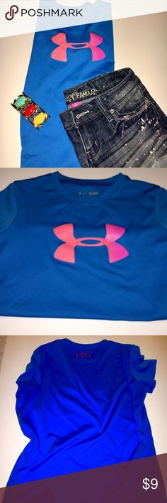 Under Armour Girl's Blue Shirt Very good condition and perfect to keep your sweet girl cool throughout her athletics. Looks adorable with jean shorts or athletic bottoms. Under Armour Shirts & Tops Tees - Short Sleeve