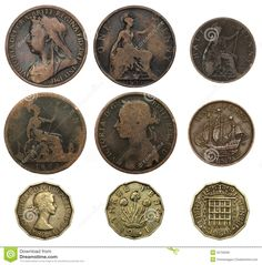 "UK coins - one penny, half penny (or ha' - pronounced ""hey"" - penny) and three pence (or ""thruppenny bit"").Old UK coins - one penny, half penny (or ha' - pronounced ""hey"" - penny) and three pence (or ""thruppenny bit""). Old British Coins, Canadian Coins, Old Money, Cash Money, My Childhood Memories, Rare Coins, Gold Coins, Mint Coins, Silver Dollar"