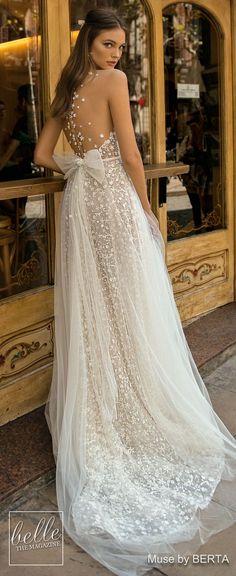 MUSE by BERTA Wedding Dresses 2019 – Barcelona Bridal Collection Sheer Wedding Dress, Western Wedding Dresses, Princess Wedding Dresses, New Wedding Dresses, Bridal Dresses, Belle Bridal, Allure Bridal, Vestidos Vintage, Vintage Dresses