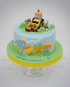 Bagger Tom by Cakes by Toni Construction Birthday Parties, Cars Birthday Parties, Excavator Cake, Grass Cake, Baby Boy Birthday Cake, Biscuits, Cake Decorating Frosting, Cupcakes, Cakes For Boys