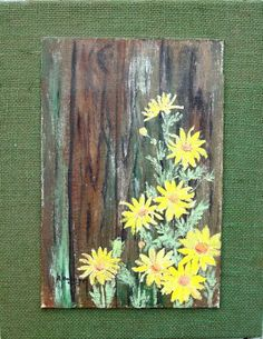 Acrylic Painted DAISIES on Wood with Burlap by theowlsnestofnc, $20.00?