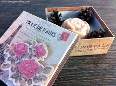 SET mit  Natur ROSEN SEIFE 130 g handgemacht  + Geschenk BOX  Ville de Paris