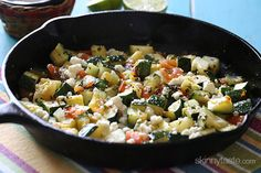 Skillet Mexican Zucchini ~ 1 Garlic Clove, finely chopped • 1T EVOO • 1 lb Zucchini, diced • 1 lg Tomato, cored, seeded and diced • 1 Green Onion, thinly sliced • 1T minced fresh Cilantro or Garden Gourmet Cilantro Paste • 1t minced pickled Jalapeño • ½C crumbled Queso Blanco • fresh Lime Juice, to taste • S & P to taste