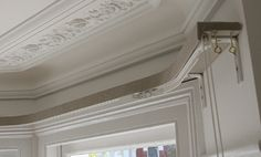 Linen fabric wrapped lath and fascia for bay window