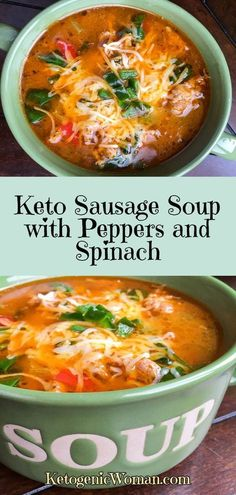 Keto Sausage Soup with Peppers and Spinach. Heartwarming soup for those cooler days. Keto Sausage Soup with Peppers and Spinach. Heartwarming soup for those cooler days. Ketogenic Recipes, Low Carb Recipes, Soup Recipes, Diet Recipes, Cooking Recipes, Healthy Recipes, Ketogenic Diet, Slimfast Recipes, Mince Recipes