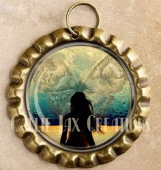Bottle Cap Pendant with Original Artwork Fantasy Butterfly and Moon. Solitude. Introspective solace. Great for purse charms, day planner charms, keychain charms and zipper pulls.