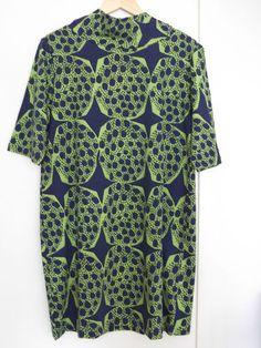 Marimekko Dark Blue Green Patterned Tunic Dress Size L | eBay