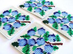 Plastic Canvas Blueberry Coasters, Mug Rugs, Summer Home Decor,