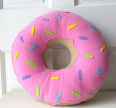 Pink Frosted Doughnut Pillow, Doughnut Pillow, Pastry Plush, Food Pillow on Etsy, $25.00