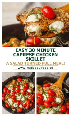 Turn your caprese salad into a meal with chicken! My favorite summer salad is the caprese salad. I love to make it with big fresh Jersey tomatoes, fresh mozzarella, basil from the garden, and a drizzle of balsamic glaze.I took all the flavors of a Caprese salad and created a skillet meal that I could make any time. For this recipe, I swapped in some balsamic vinegar for the glaze, mini mozzarella balls for the sliced mozzarella, and cherry tomatoes for the full sliced tomatoes. #capresesalad Easy Chicken Dinner Recipes, Healthy Chicken Dinner, Best Chicken Recipes, Mozzarella Balls Recipe, Fresh Mozzarella, Easy Summer Salads, Summer Salad Recipes, Balsamic Glaze, Balsamic Vinegar
