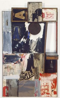 Robert Rauschenberg - 1959, Magician. Combine: oil, fabric, wood, printed paper, printed reproductions, and metal on canvas with fabric pouch and string (166.1 x 96.8 x 41 cm)
