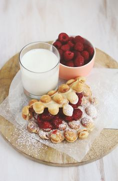 Peanut butter and jam bubble waffles! (click through for the recipe)