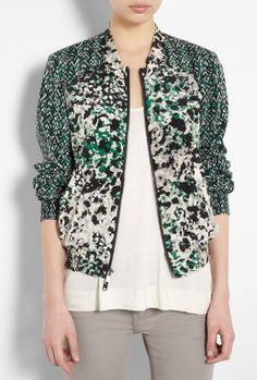 Long Sleeve Zip Front Print Jacket by DKNY