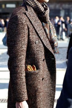 Double Breasted Brown Wool Peacoat