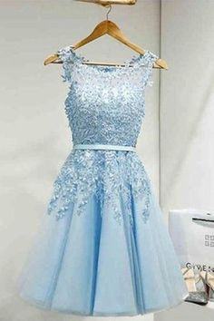 Sleeveless Tulle Homecoming Dress Short Prom Dress With Lace Appliques TR0219