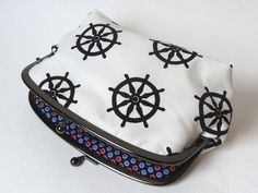 Nautical black and white ship's wheel fabric by cheekyleopard