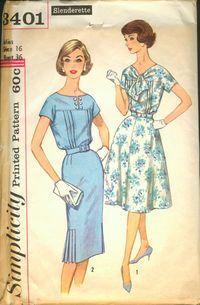 """simplicity 3401 - size 18 38"""" 1960"""