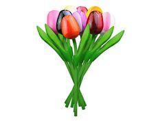 Boeket houten tulpen Multi color