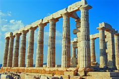 Cape Sounion Temple    Cape Sounion is noted as the site of ruins of the ancient Greek temple of Poseidon, the god of the sea in classical mythology.