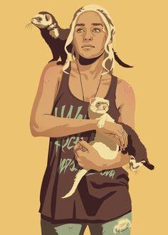 Daenerys Targaryen - Game of Thrones 80/90s era characters by Mike Wrobel / Moshi-Kun via http://moshi-kun.tumblr.com
