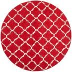 Dhurries Red/Ivory 6 ft. x 6 ft. Round Area Rug
