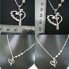 Personalized Name Music Heart Love Necklace by yhtanaff on Etsy, $78.00
