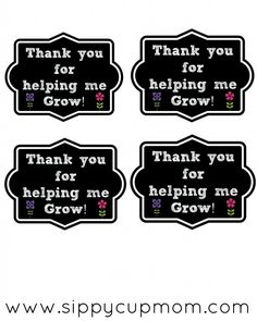 Thank You for Helping Me Grow Printable + 15 Teacher Appreciation Gifts May 2014 by Sippy Cup Mom 37 Comments Appreciation Message, Teacher Appreciation Week, Teacher Gifts, Volunteer Appreciation, Teacher Presents, Teacher Stuff, Volunteer Gifts, End Of School Year, Help Me Grow