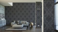 Tapete Memory Vliestapete Barock 95372-3 953723 schwarz grau silber