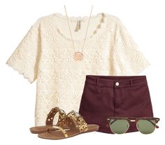 """""""Maroon and Cream:)"""" by flroasburn ❤ liked on Polyvore featuring H&M, Ray-Ban, Kate Spade and BaubleBar"""