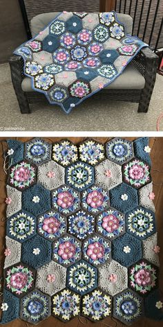 It's great how one pattern can be made in a lot of different ways! Another colour can make a blanket completely change its character! Crochet Hexagon Blanket, Crochet Blocks, Crochet Blanket Patterns, Crochet Motif, Crochet Designs, Crochet Flowers, Crochet Blankets, Free Crochet, Crochet Granny