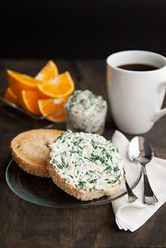 Bagel with spinach cream cheese. The Bagel Shop, South Plainfield, New Jersey 5/21/14