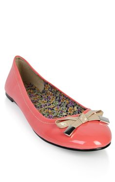 Deb Shops two tone patent ballet #flat with #bow