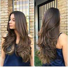 Pin on hair Haircuts For Long Hair With Layers, Haircuts Straight Hair, Long Layered Haircuts, Long Hair Cuts, Hair Goals Color, Medium Hair Styles, Curly Hair Styles, Chestnut Hair, Balayage Hair