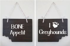 "Custom Dog Sign - Personalized your  Breed  - Wood Sign 11x 9 less  Cute ""bite"" mark cut out of the corner.. $29.00, via Etsy."